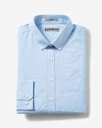 Express | Blue Fitted Plaid Easy Care Button-down Dress Shirt for Men | Lyst