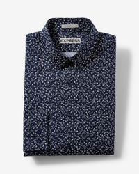 Express | Blue Fitted Small Floral Print Dress Shirt for Men | Lyst