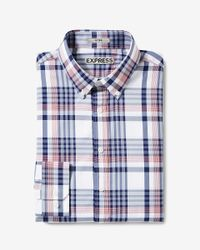 Express | Red Fitted Easy Care Plaid Button-down Dress Shirt for Men | Lyst