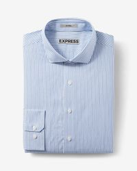 Express   Blue Fitted Striped Dress Shirt for Men   Lyst