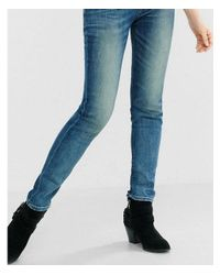 Express Blue Faded Mid Rise Super Skinny Jean