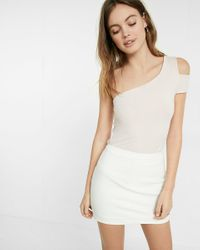 Express Pink One Shoulder Cut-out Tee