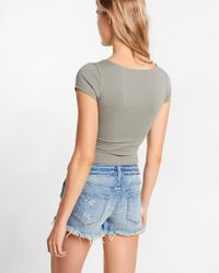 Express Gray Wire Plunging V-neck Bodysuit
