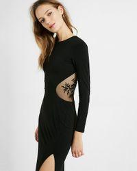 Express Black Embellished Mesh Back Maxi Dress