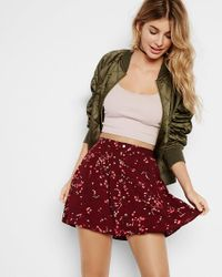 Express Red Floral Print Button Front Mini Skirt