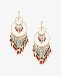 Express - Red Double Circle Drop Bead Fringe Earrings - Lyst