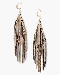 Express - Black Chain Fringe Teardrop Earrings - Lyst