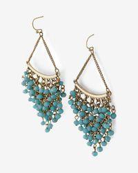 Express - Blue Cascading Bead Chandelier Earrings - Lyst