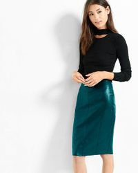 Express Green (minus The) Leather Pencil Skirt