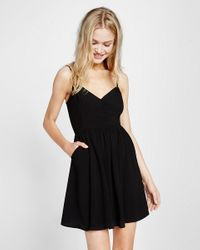 Express Black Button Front Cami Dress