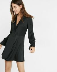 Express | Black Plunging Tuxedo Dress | Lyst