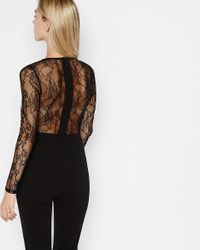Express Black Lace Back And Sleeve Jumpsuit
