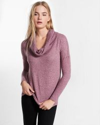 Express Multicolor One Eleven Brushed Convertible Cowl Neck Tee