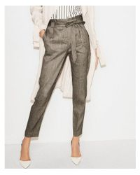 Express Gray Petite High Waisted Linen-blend Paperbag Ankle Pant