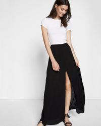 Express | Black High Waisted Button Front Maxi Skirt | Lyst