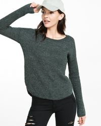 Express - Green Crew Neck Shaker Knit Sweater - Lyst