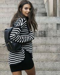 Express | Black Striped Mock Neck Shirttail Hem Sweater | Lyst