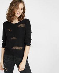 Express - Black V-back Drop Needle Sweater - Lyst