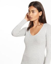 Express | Gray Fitted Wide Ribbed V-neck Sweater | Lyst