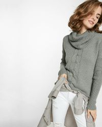 Express | Gray Cable Knit Cowl Turtleneck Sweater | Lyst