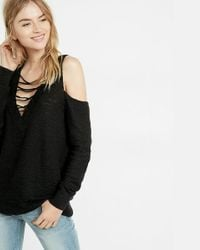 Express | Black Two-way Lace-up Tunic Sweater | Lyst