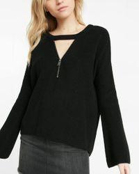 Express   Black Choker Zip V-neck Bell Sleeve Tunic Sweater   Lyst