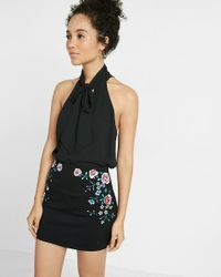 Express | Black Tie Front Cut-out Tank | Lyst