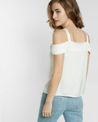 Express White Cold Shoulder Button Front Blouse