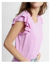 Express Pink Etite Double Ruffle Shoulder Scoop Neck Tee