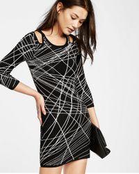 Express Black Jacquard Shoulder Cut-out Dress
