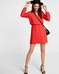 Express Red Lace Inset Elastic Waist Dress