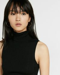 Express | Black Fitted Ribbed Sleeveless Turtleneck | Lyst