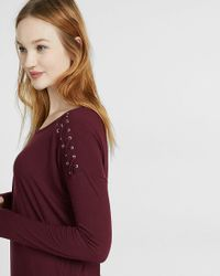 Express | Purple One Eleven Lace-up Shoulder Long Sleeve Tee | Lyst