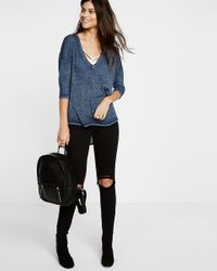Express - Blue One Eleven Burnout London Tee - Lyst