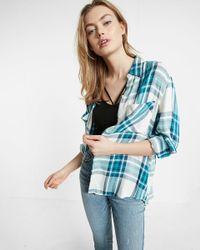 Express | Blue Plaid Oversized Convertible Sleeve Shirt | Lyst