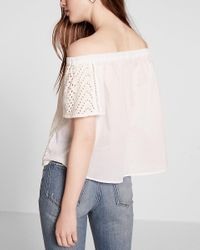 Express White Off The Shoulder Eyelet Lace Blouse