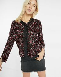 Express | Black Floral Tie-neck Bell Sleeve Blouse | Lyst