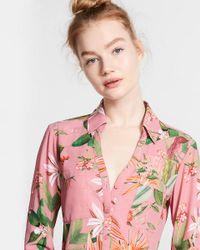 Express Pink Slim Fit Tropical Bouquet Portofino Shirt