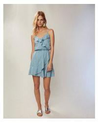 Express Blue Denim Ruffle Front Dress