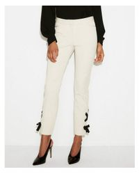 Express Natural Petite Mid Rise Lace-up Ankle Pant