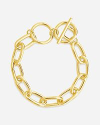 Express Metallic Sterling Forever Linked Toggle Bracelet Gold