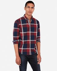 Express Red Plaid Button Front Shirt for men