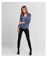 Express - Blue Printed Ruched Sleeve Zip-front Shirt - Lyst