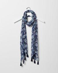 Express | Blue Floral Print Metallic Scarf | Lyst