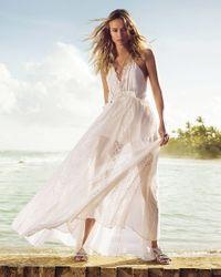 Express - White Ruffle Neck Lace Inset Maxi Dress - Lyst