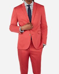 Express Extra Slim Nantucket Red Cotton Sateen Performance Stretch Suit Jacket Pink for men