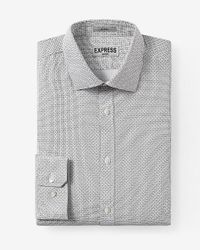 Express | Gray Fitted Micro Geo Print Non-iron Dress Shirt for Men | Lyst