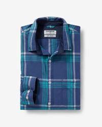 Express - Blue Modern Fit Microprint Dress Shirt for Men - Lyst