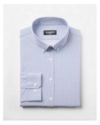 Express Blue Extra Slim Fit Slim Button Collar Performance Shirt for men