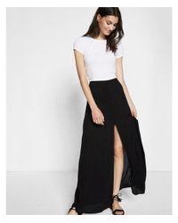Express Black High Waisted Button Front Maxi Skirt
